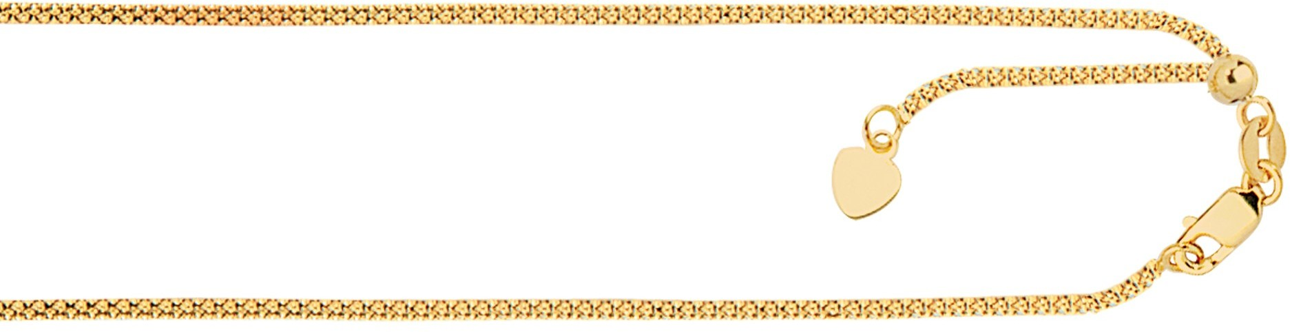 "22"" 14K Yellow Gold 1.3mm (0.05"") Polished Diamond Cut Adjustable Popcorn Chain w/ Lobster Clasp & Small Heart Charm"