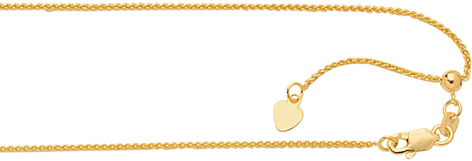 "22"" 14K Yellow Gold 1.0mm (0.04"") Polished Diamond Cut Adjustable Round Wheat Chain w/ Lobster Clasp"