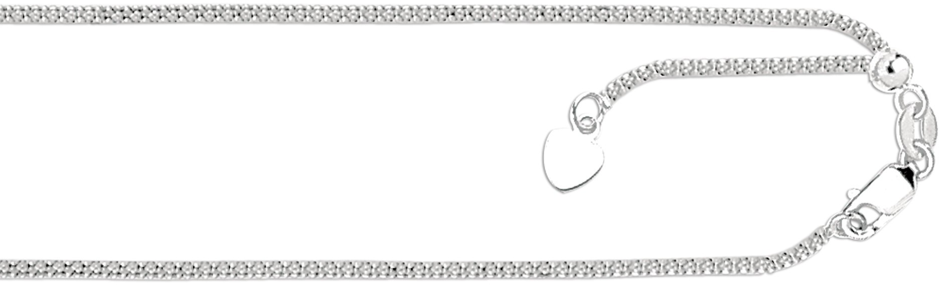 "22"" 14K White Gold 1.3mm (0.05"") Polished Diamond Cut Adjustable Popcorn Chain w/ Lobster Clasp & Small Heart"