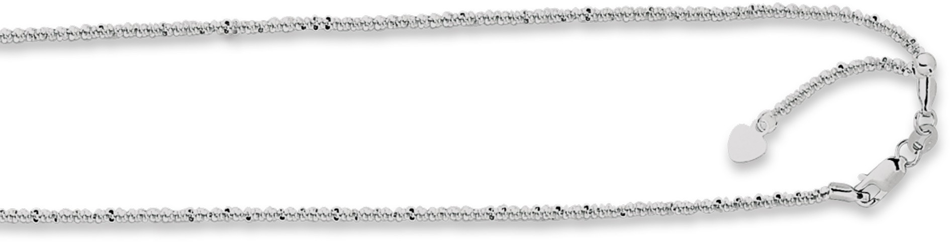 "22"" 14K White Gold 1.5mm (0.06"") Polished Diamond Cut Adjustable Sparkle Chain w/ Lobster Clasp & Small Heart"