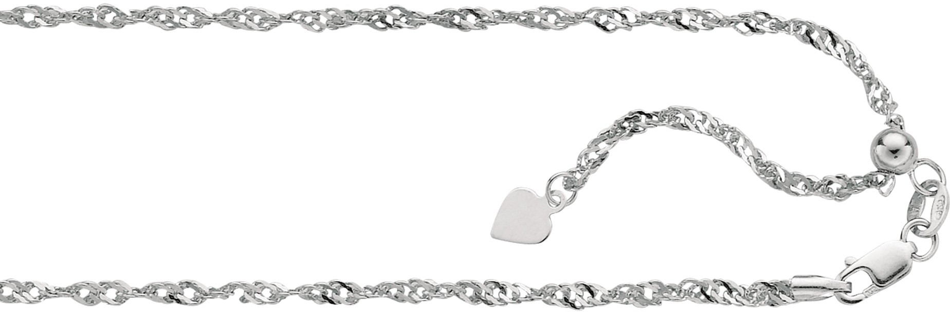 "22"" 14K White Gold 1.1mm (0.04"") Polished Diamond Cut Adjustable Singapore Chain w/ Lobster Clasp & Small Heart"