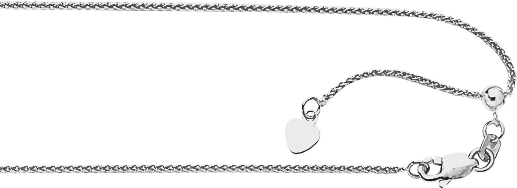 "22"" 14K White Gold 1.0mm (0.04"") Diamond Cut Adjustable Round Wheat Chain w/ Lobster Clasp"