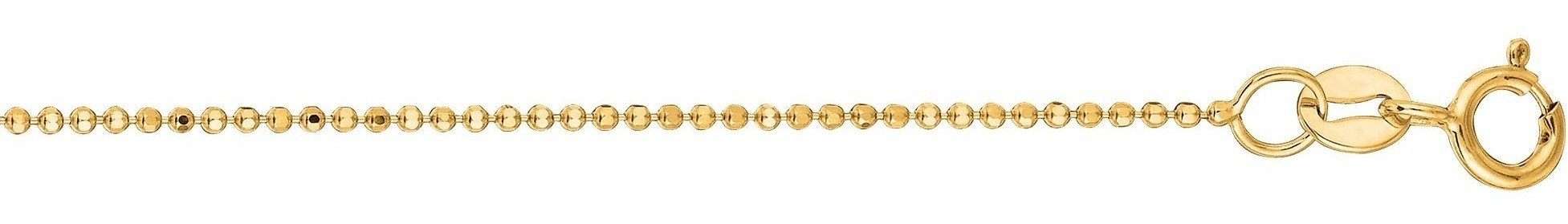 "20"" 14K Yellow Gold 1.0mm (0.04"") Polished Diamond Cut Bead Chain w/ Spring Ring Clasp"