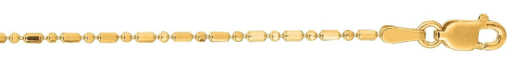 "20"" 14K Yellow Gold 1.2mm (0.05"") Diamond Cut Bead Chain w/ Lobster Clasp"