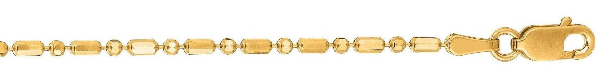"20"" 14K Yellow Gold 1.5mm (0.06"") Polished Diamond Cut Bead Chain w/ Lobster Clasp"