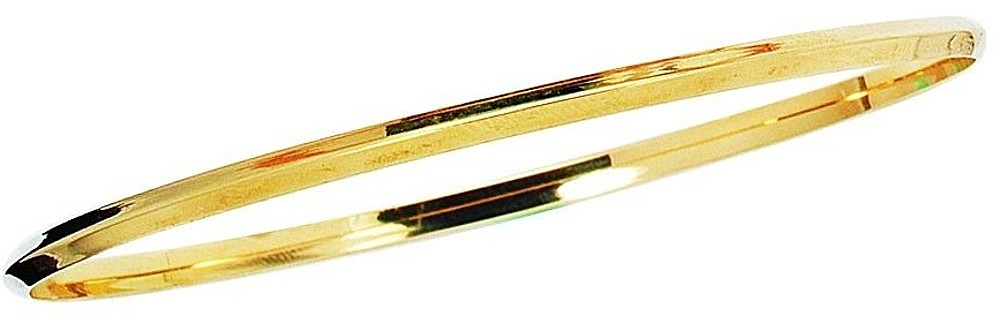 "8"" 14K Yellow Gold 2.75mm (1/10"") Polished Round Triangular Tube Stackable Bangle Bracelet"