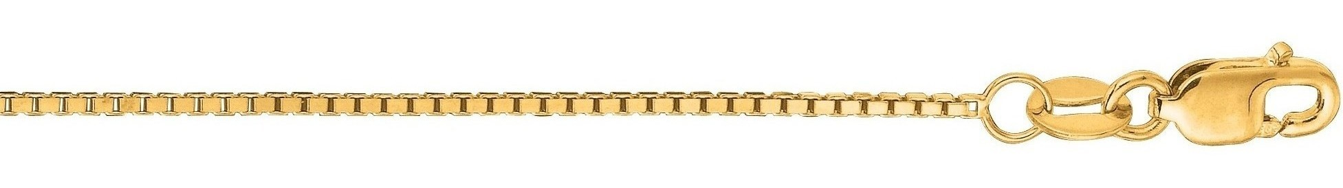 "24"" 14K Yellow Gold 1.0mm (0.04"") Polished Classic Box Chain w/ Lobster Clasp"