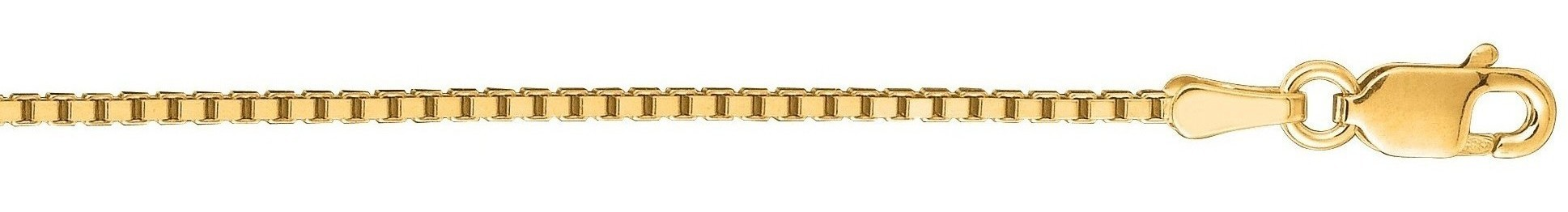 "22"" 14K Yellow Gold 1.1mm (0.04"") Polished Classic Box Chain w/ Lobster Clasp"