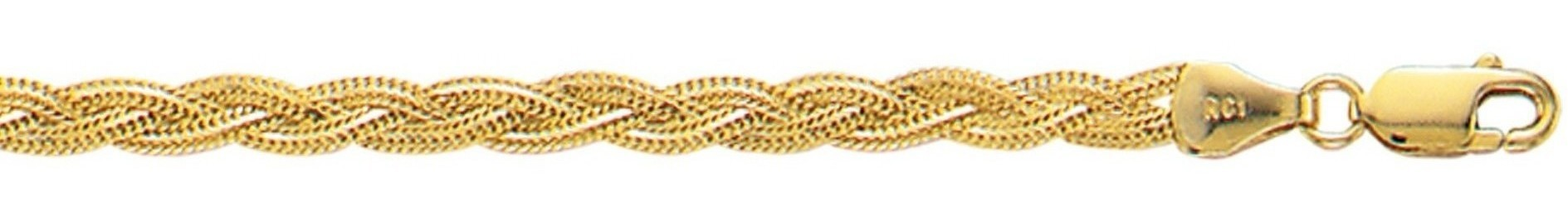 "18"" 14K Yellow Gold 3.5mm (1/7"") Polished Diamond Cut Braided Foxtail Chain w/ Lobster Clasp"