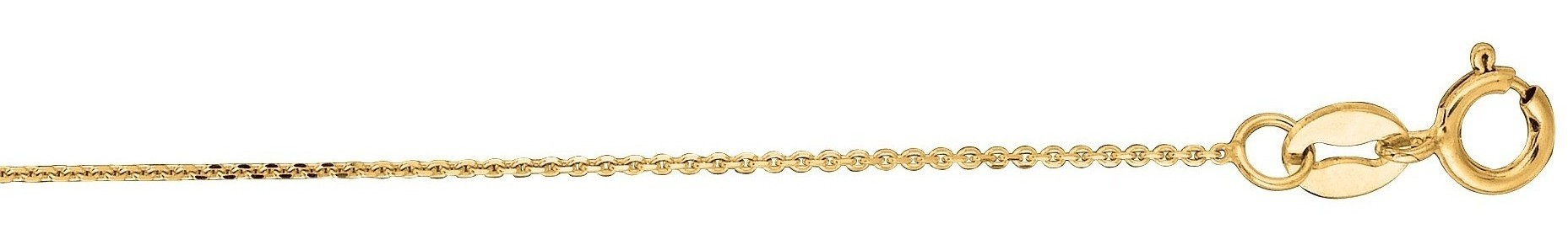 "20"" 14K Yellow Gold 0.8mm (0.03"") Polished Diamond Cut Cable Link Chain w/ Lobster Clasp"