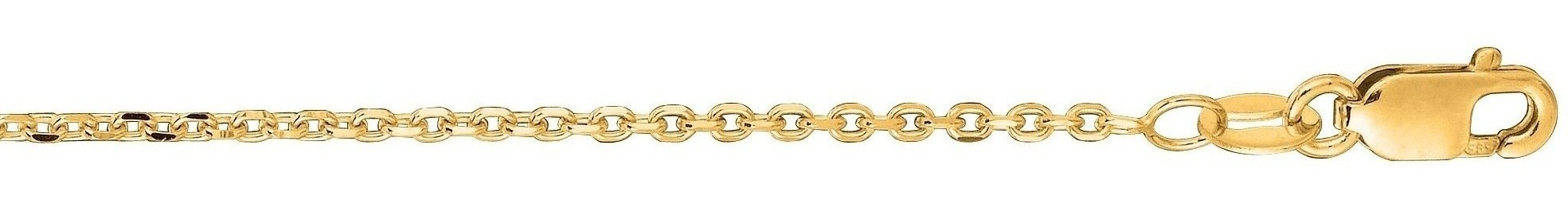 "20"" 14K Yellow Gold 1.4mm (0.06"") Polished Diamond Cut Cable Link Chain w/ Lobster Clasp"