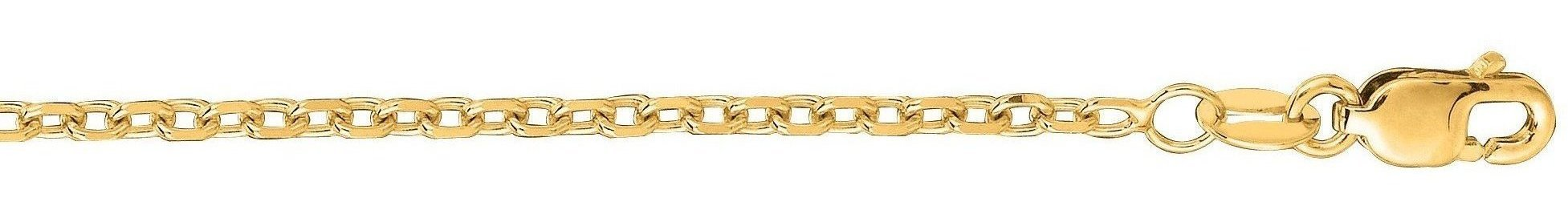 "22"" 14K Yellow Gold 1.8mm (0.07"") Polished Diamond Cut Cable Link Chain w/ Lobster Clasp"