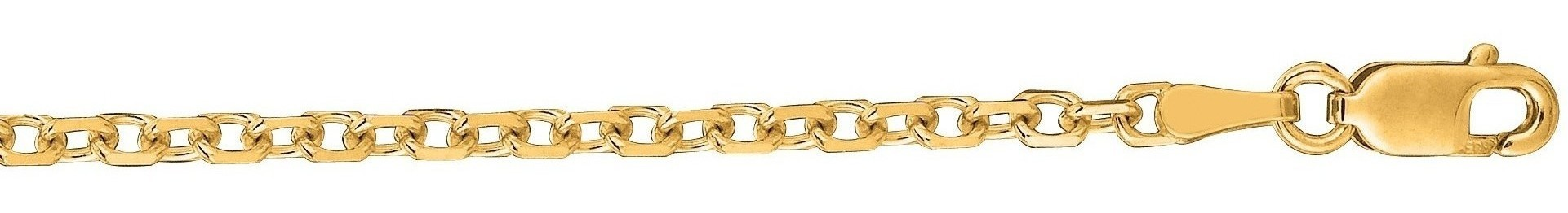 "30"" 14K Yellow Gold 2.3mm (0.09"") Polished Diamond Cut Cable Link Chain w/ Lobster Clasp"