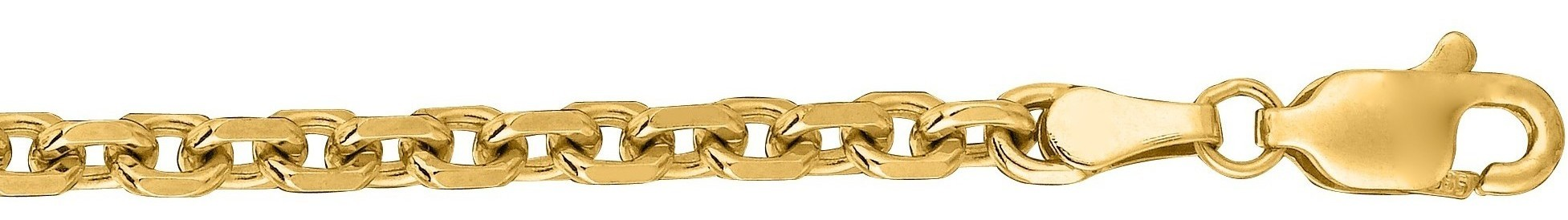 "18"" 14K Yellow Gold 4.0mm (1/6"") Polished Diamond Cut Cable Link Chain w/ Lobster Clasp"