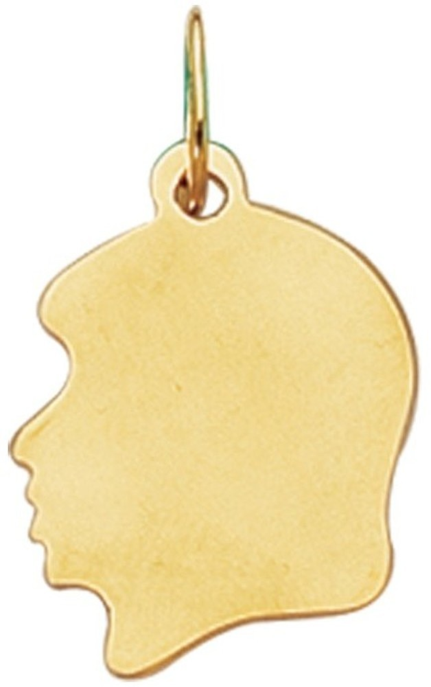 14K Yellow Gold Shiny Girl Head Charm (BTCH304)
