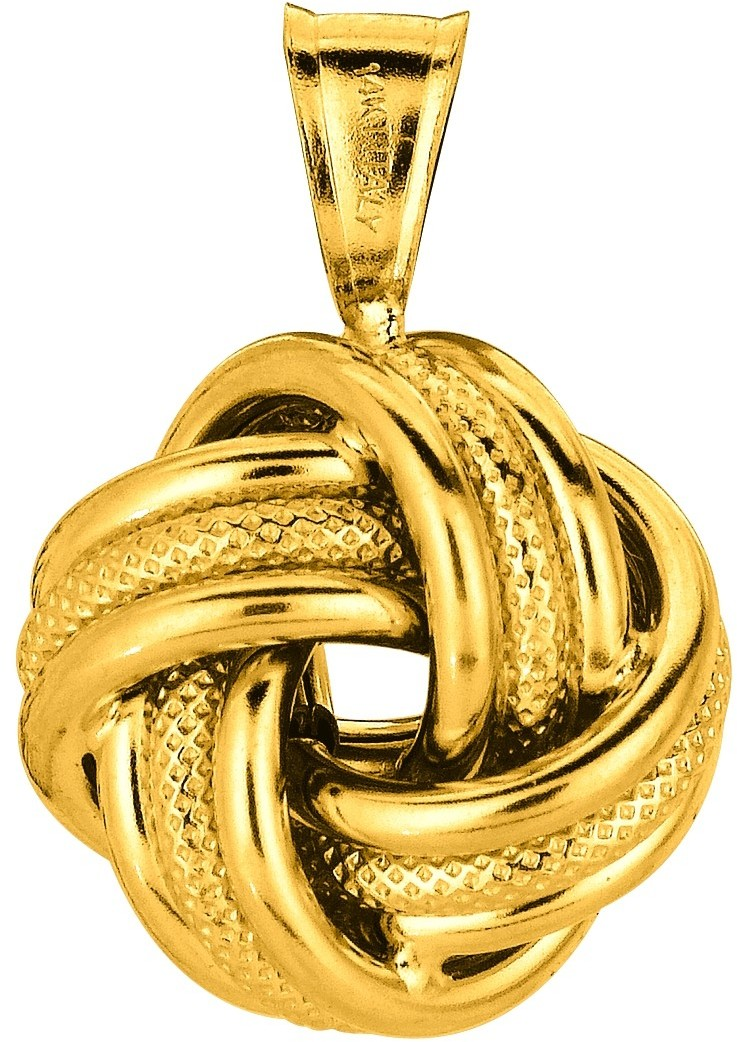 "18"" 14K Yellow Gold 1.1mm (0.04"") Cable Link Chain w/ Polished Textured Round Like Love Knot Pendant w/ Lobster Clasp Necklace"