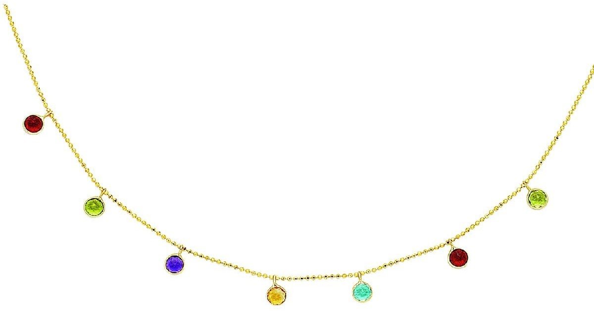 "16"" 14K Yellow Gold Diamond Cut Bead Chain w/ 7 Multi Color Round Faceted Stone Necklace w/ Spring Ring Clasp"