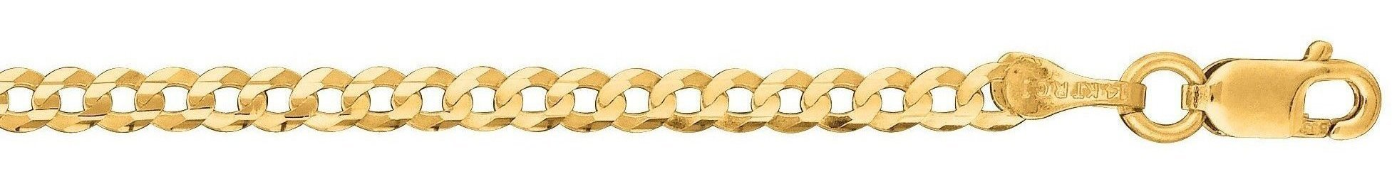 "20"" 14K Yellow Gold 2.6mm (1/10"") Polished Diamond Cut Comfort Curb Chain w/ Lobster Clasp"