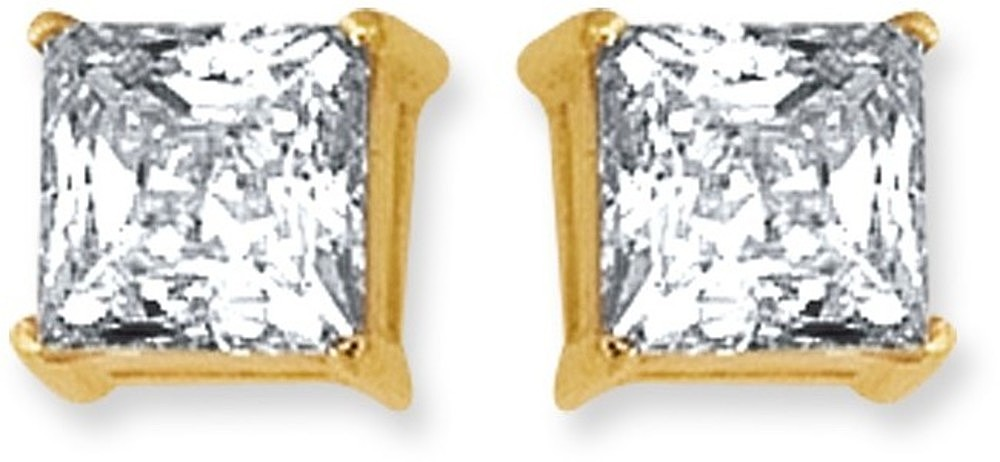 "14K Yellow Gold Shiny 6.0mm (1/4"") Square Faceted White Cubic Zirconia (CZ) Stud Earrings"