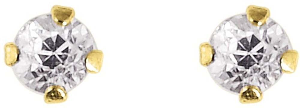 "14K Yellow Gold Shiny 2.0mm (0.08"") Round Faceted White Cubic Zirconia (CZ) Stud Earrings"