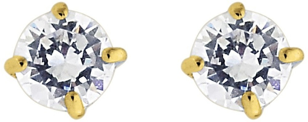 "14K Yellow Gold Shiny 3.0mm (1/8"") Round Faceted White Cubic Zirconia (CZ) Stud Earrings"