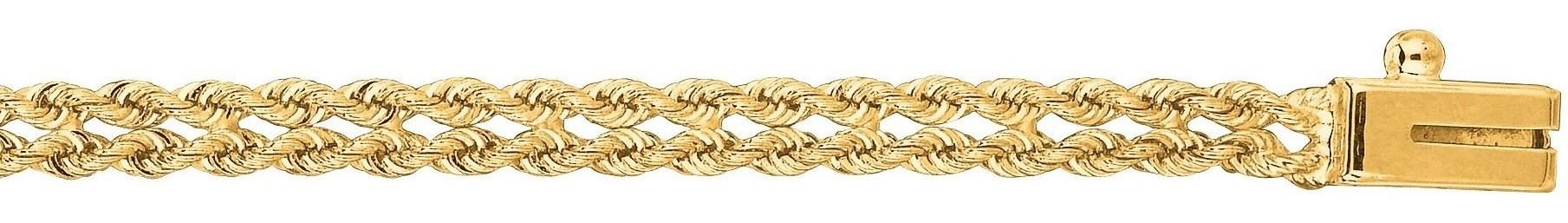 "8"" 14K Yellow Gold 3.0mm (1/8"") Polished Diamond Cut Multi Line Rope Chain w/ Box Catch Clasp"