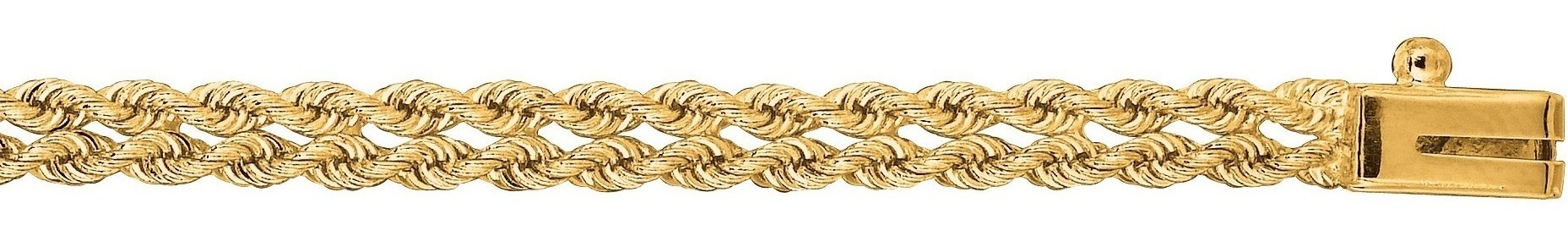 "7"" 14K Yellow Gold 4.0mm (1/6"") Polished Diamond Cut Multi Line Rope Chain w/ Box Catch Clasp"