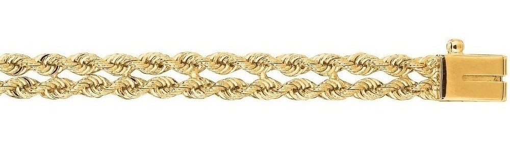 "7"" 14K Yellow Gold 5.0mm (1/5"") Polished Diamond Cut Multi Line Rope Chain w/ Box Catch Clasp"