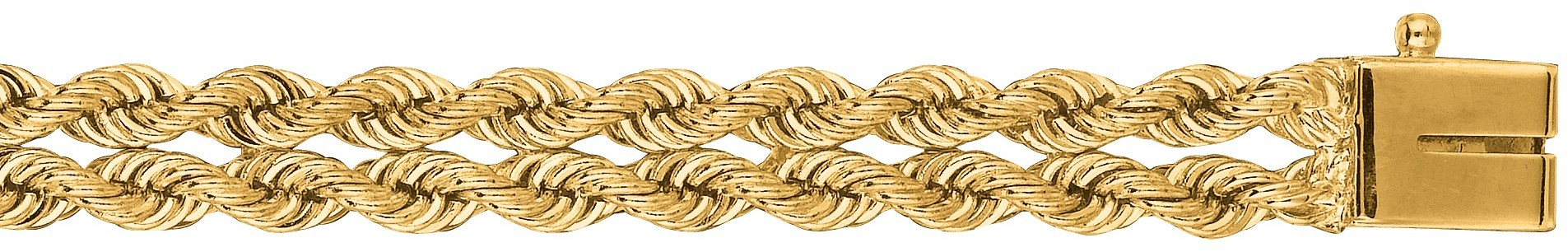 "7"" 14K Yellow Gold 6.0mm (1/4"") Polished Diamond Cut Multi Line Rope Chain w/ Box Catch Clasp"