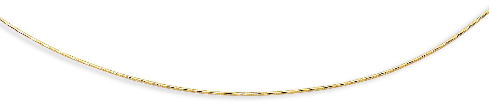 "18"" 14K Yellow Gold 1.5mm (0.06"") Diamond Cut Round Omega Necklace w/ Screw Off Clasp"