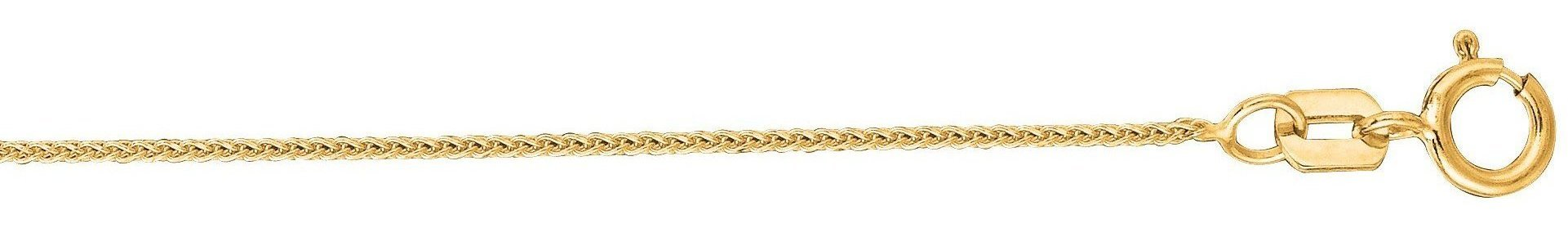 "20"" 14K Yellow Gold 0.6mm (0.02"") Polished Round Diamond Cut Wheat Chain w/ Spring Ring Clasp"