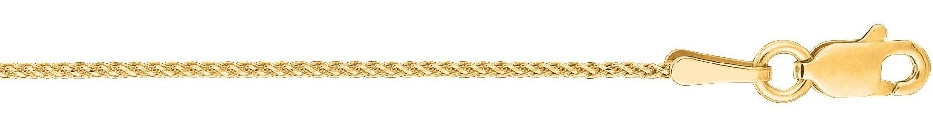"20"" 14K Yellow Gold 1.0mm (0.04"") Polished Round Diamond Cut Wheat Chain w/ Lobster Clasp"