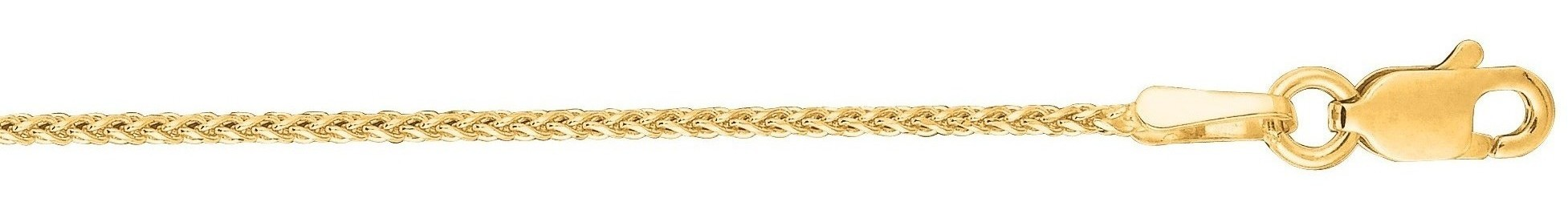 "18"" 14K Yellow Gold 1.1mm (0.04"") Polished Round Diamond Cut Wheat Chain w/ Lobster Clasp"
