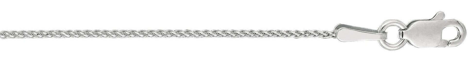 "18"" 14K White Gold 1.0mm (0.04"") Polished Diamond Cut Wheat Chain w/ Lobster Clasp"