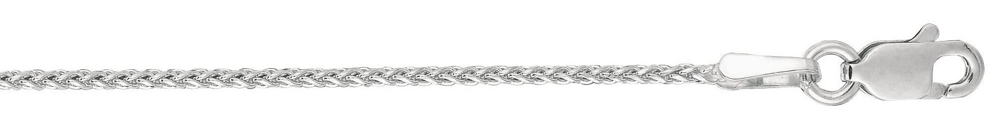 "20"" 14K White Gold 1.1mm (0.04"") Polished Diamond Cut Wheat Chain w/ Lobster Clasp"