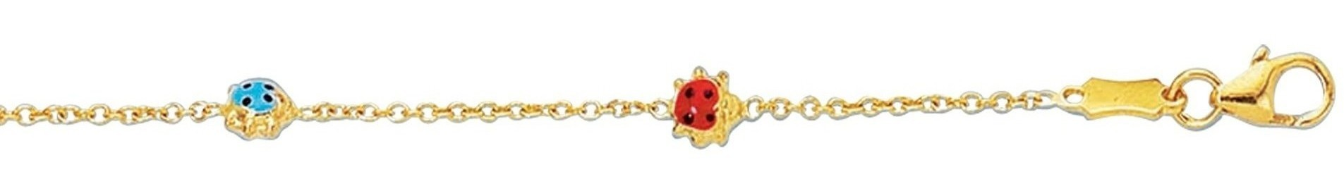 "5""-5.5"" 14K Yellow Gold 1.8mm (0.07"") Adjustable Cable Link Chain w/ Lady Bug Children Bracelet w/ Pear Shape Clasp"