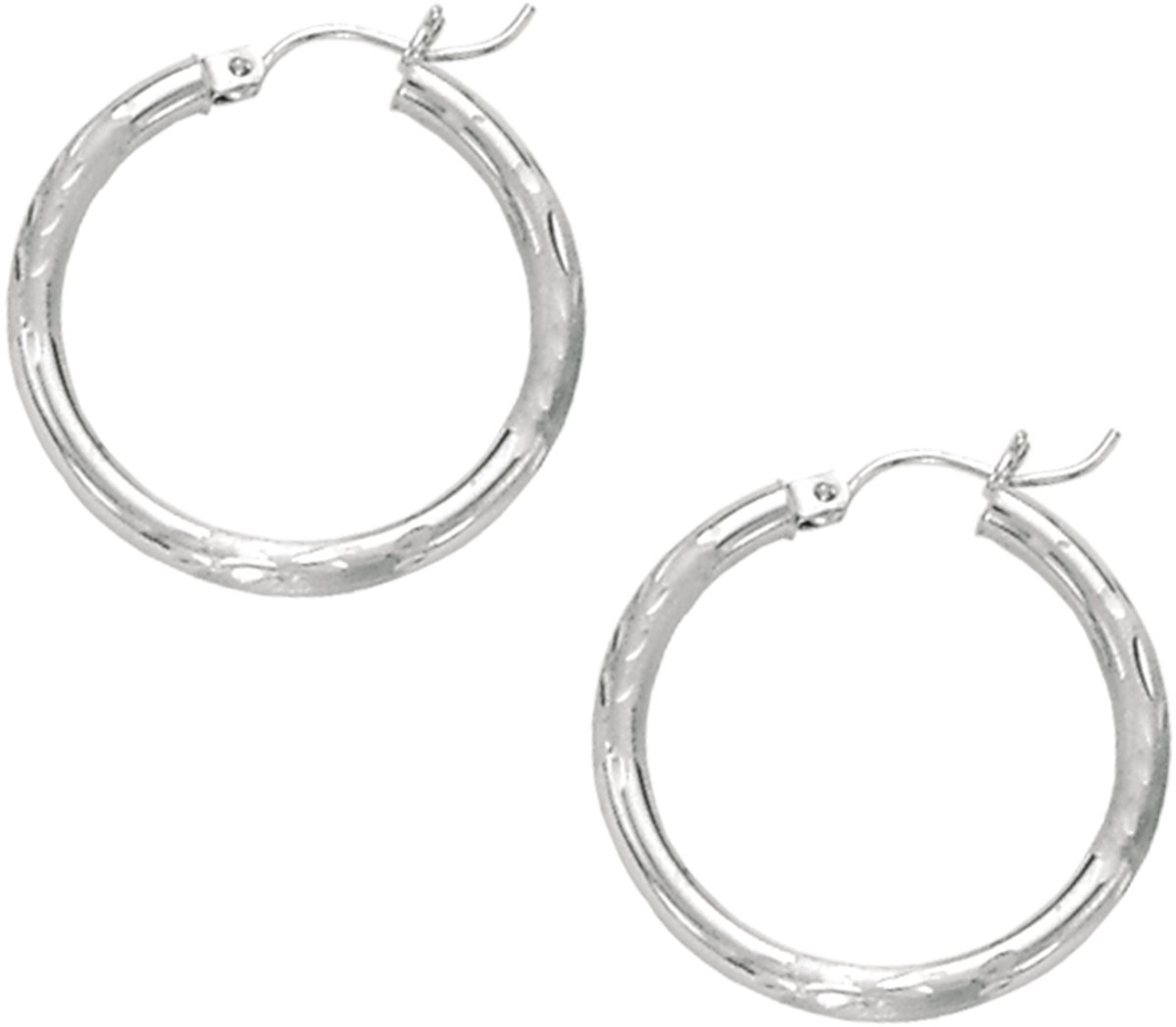 "14K White Gold 3x25mm (0.12""x0.98"") Polished Diamond Cut Round Tube Hoop Fancy Earrings"