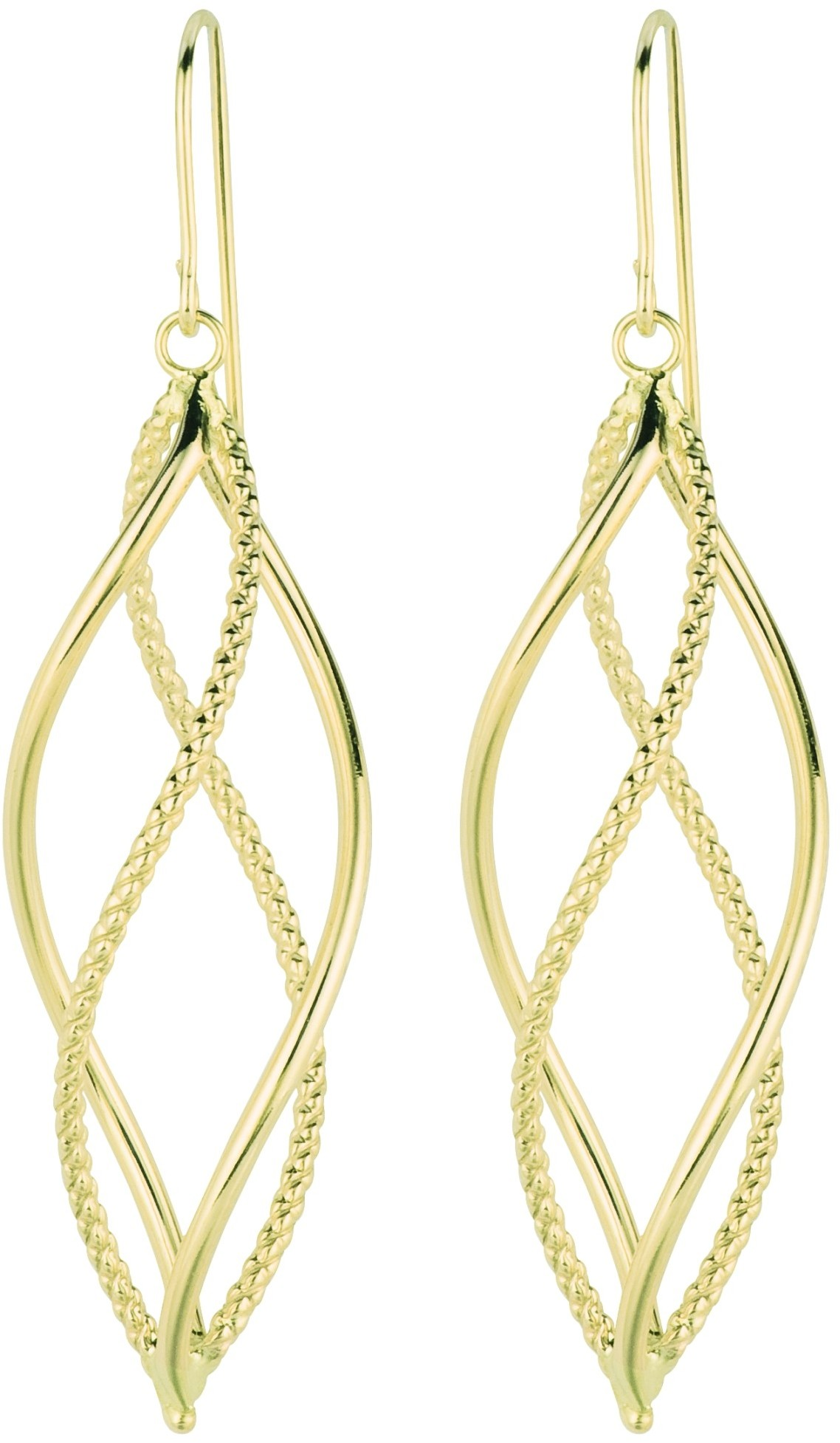 14K Yellow Gold Polished Diamond Cut Freeform Fancy Dangle Earrings