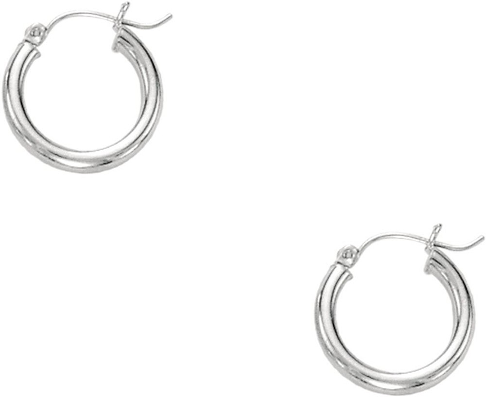 "14K White Gold 3x15mm (0.12""x0.59"") Polished Round Tube Hoop Earrings"