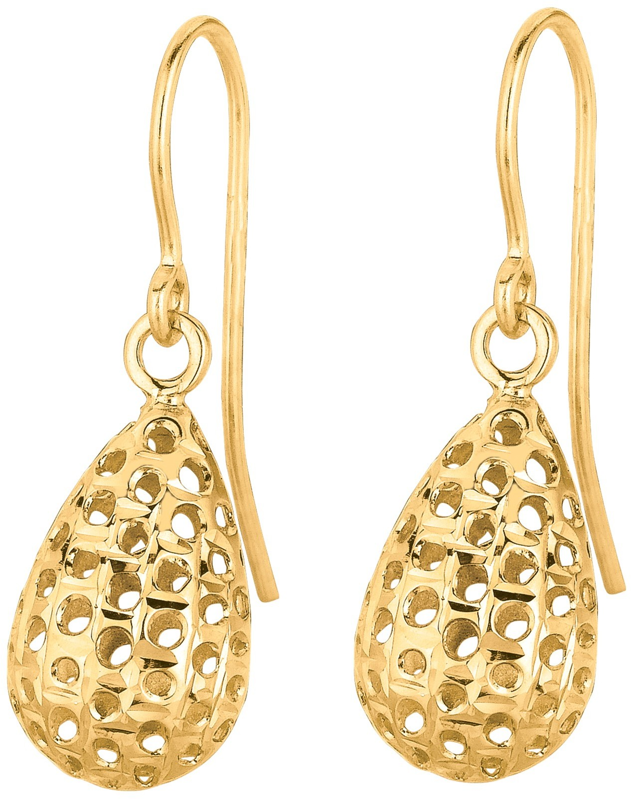 14K Yellow Gold Shiny Small Meshed Teardrop Shape Drop Earrings