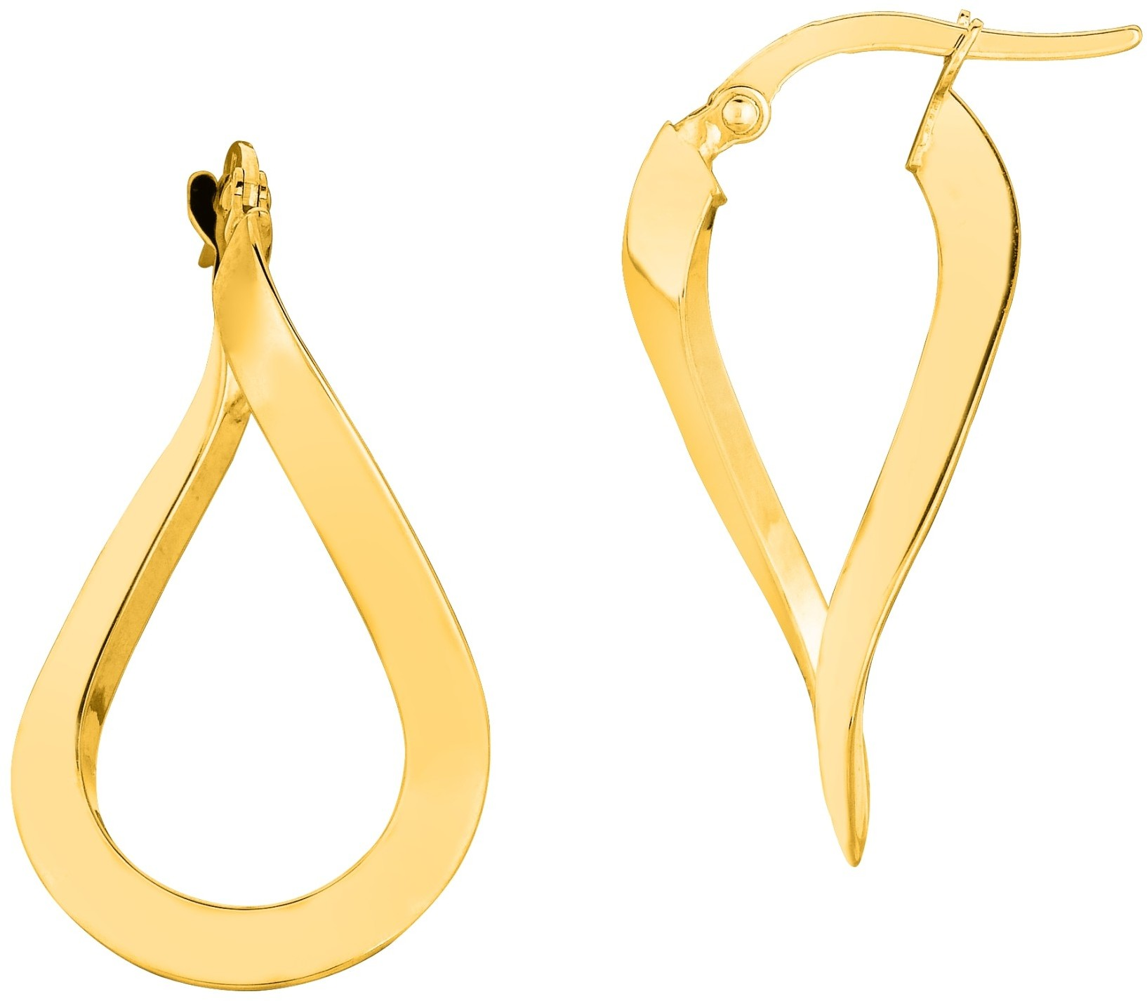 14K Yellow Gold Shiny Oval Shape Freeform Hoop Earrings (BTER1484)