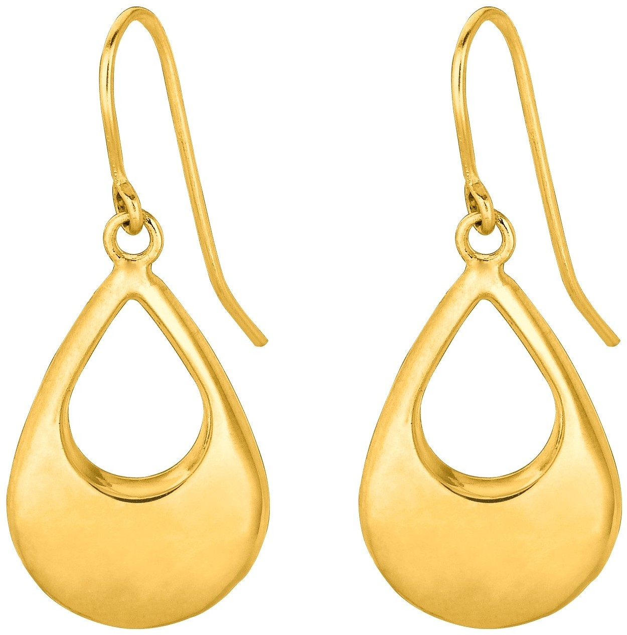14K Yellow Gold Shiny Graduated Open Teardrop Earrings