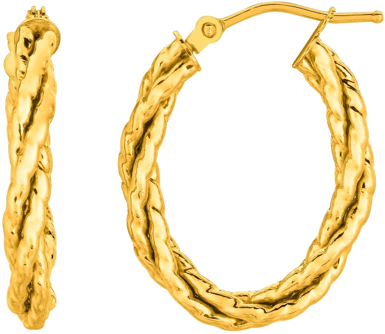 14K Yellow Gold Shiny Twisted Oval Hoop Earrings