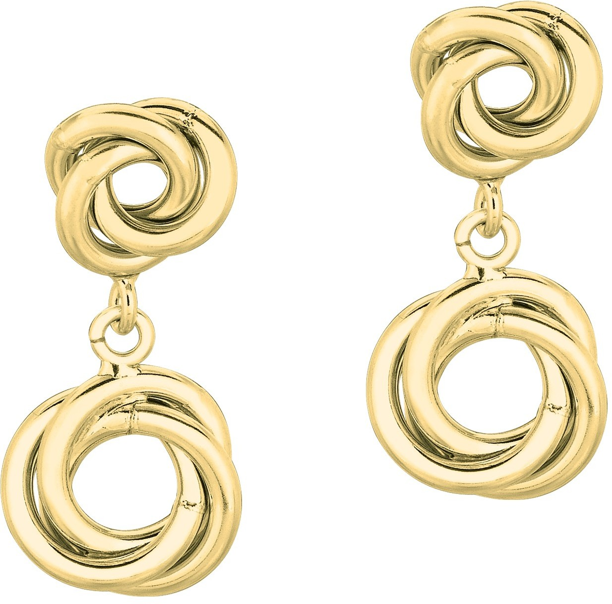 14K Yellow Gold Shiny Double Love Knot Like Drop Earrings
