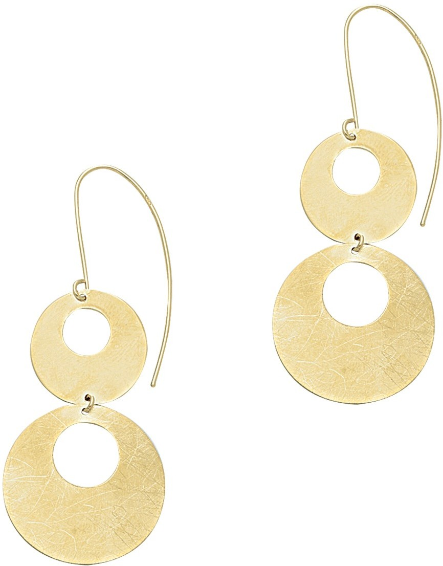 14K Yellow Gold 2 Flat Open Round Graduated Dangle Earrings