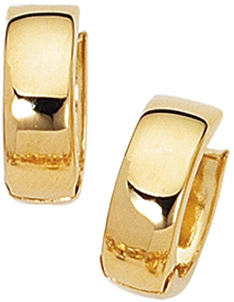 14K Yellow Gold Polished Huggie Hoop Earrings
