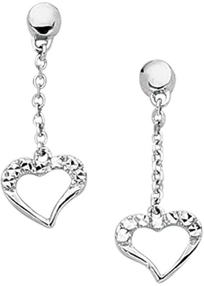 14K White Gold Diamond Cut Cable Chain Link w/ Pave Open Heart Like Dangle Earrings