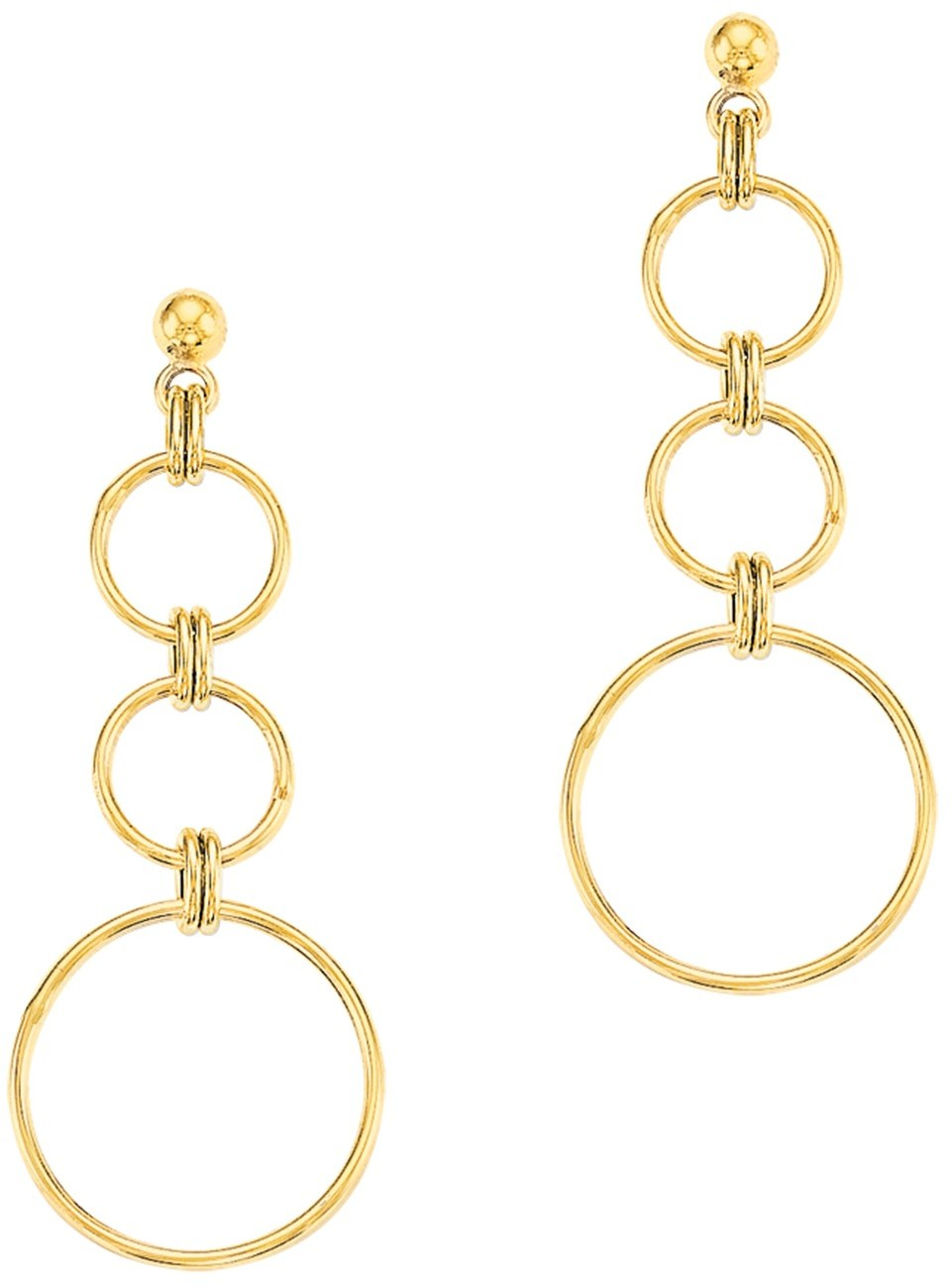 10K Yellow Gold Polished 3 Concentric Circle Dangle Earrings