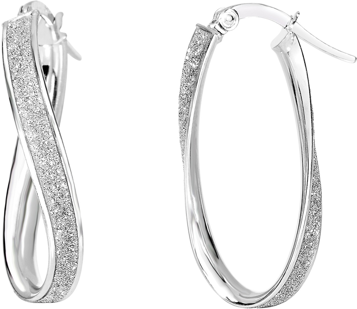 "14K White Gold 3.75mm (1/7"") Shiny Twisted Oval Hoop Earrings"