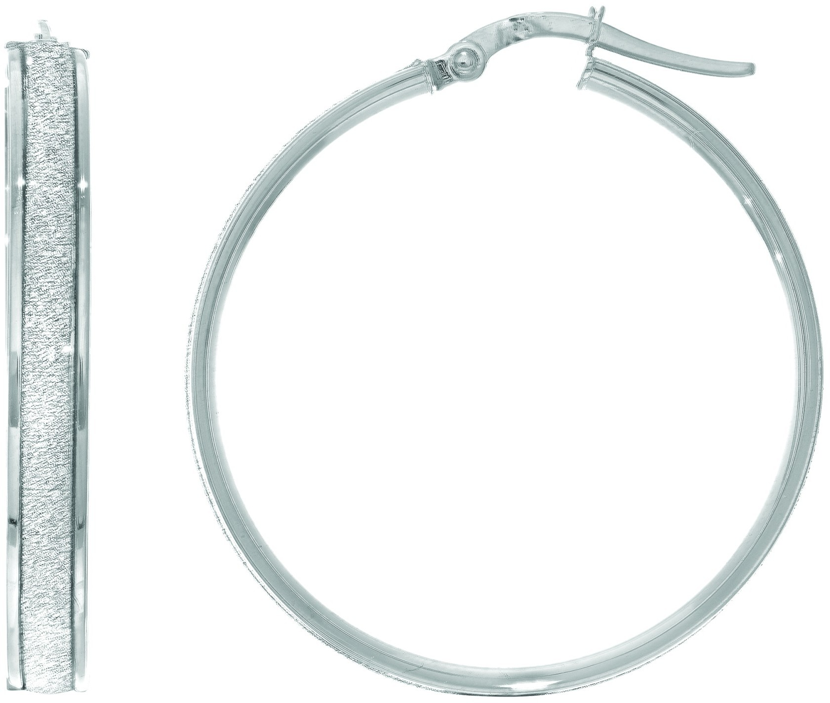"14K White Gold 7.75x28mm (0.31""x1.1"") Shiny Round Hoop Earrings"